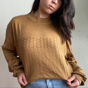 Slouchy Textured Mockneck Sweater in Honey Brown